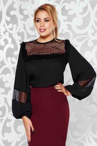 LaDonna black elegant from veil fabric flared women`s blouse