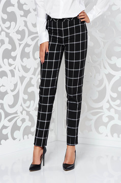 LaDonna black office conical trousers with medium waist slightly elastic fabric with chequers