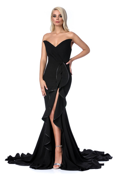 Ana Radu black dress luxurious mermaid with ruffle details off shoulder