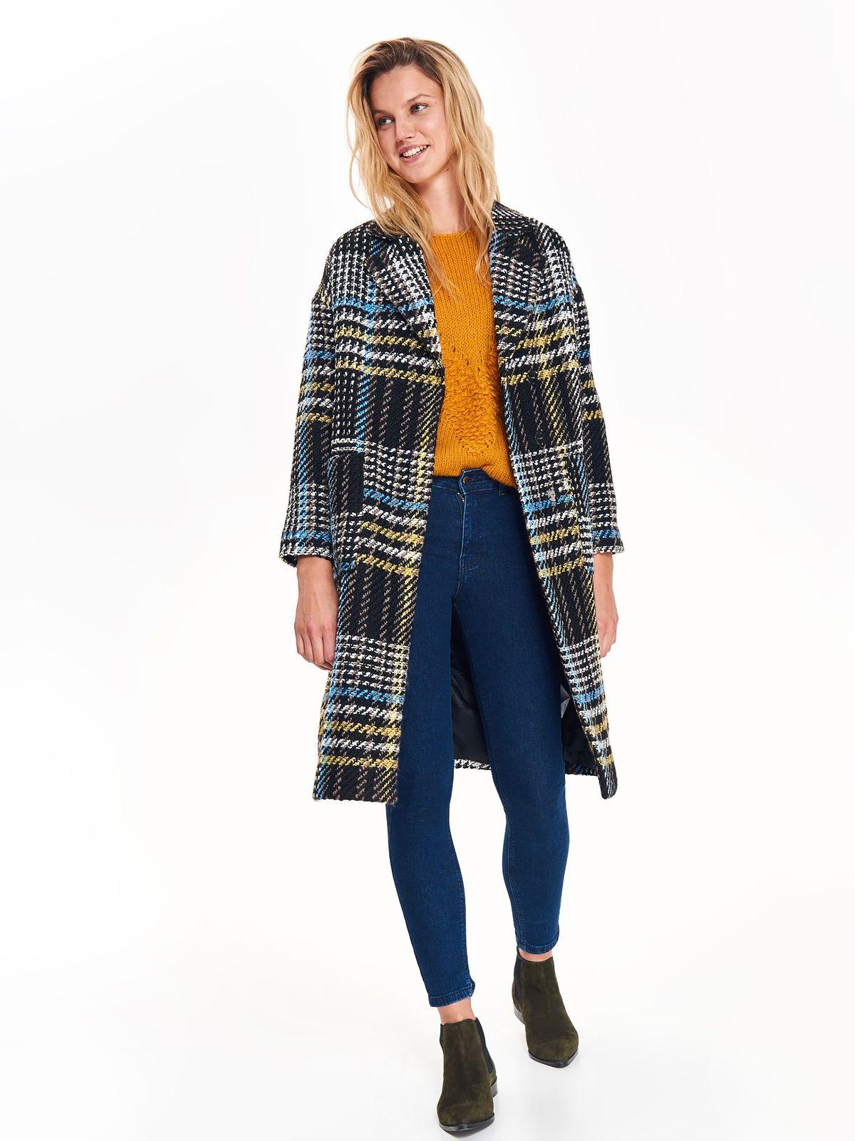 Palton Top Secret albastru casual drept din material gros in carouri