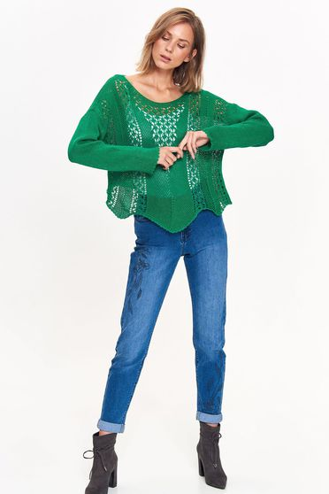 Top Secret green sweater casual flared knitted fabric with cut out material