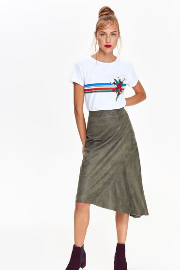Top Secret green casual asymmetrical high waisted flared skirt