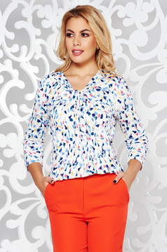 White women`s blouse office flared slightly elastic fabric from soft fabric 3/4 sleeve