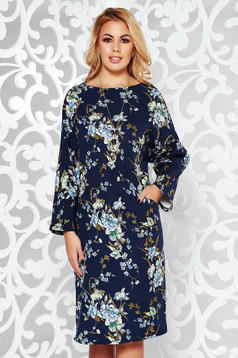 Darkblue dress elegant flared slightly elastic fabric accessorized with chain