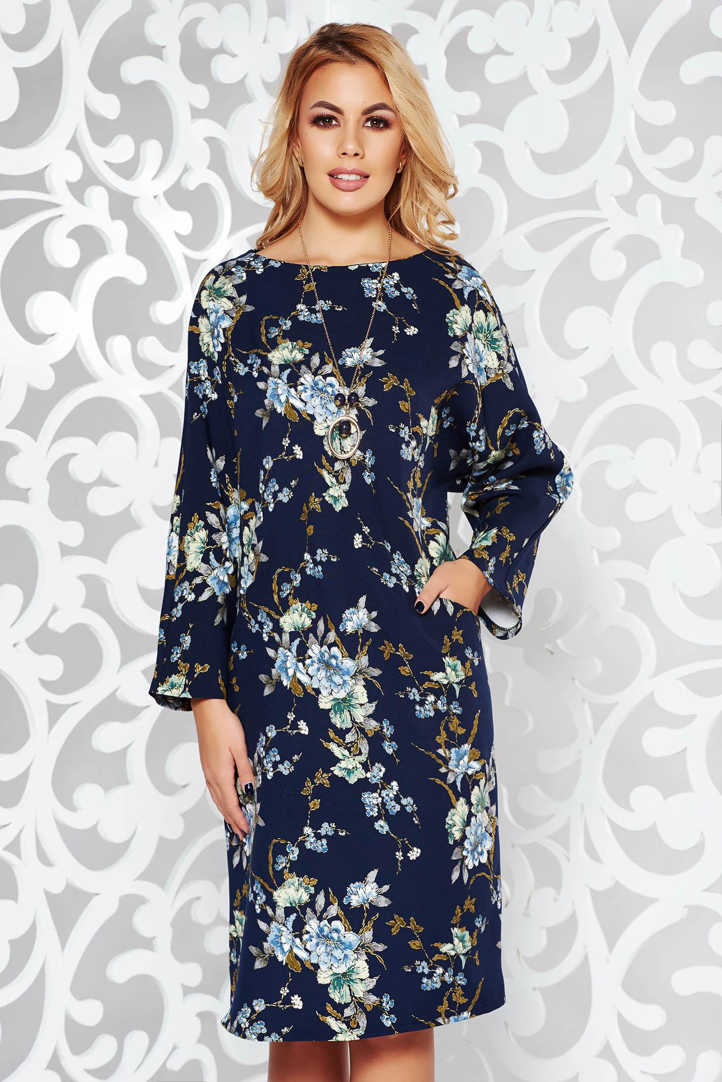 Darkblue elegant flared dress slightly elastic fabric accessorized with chain