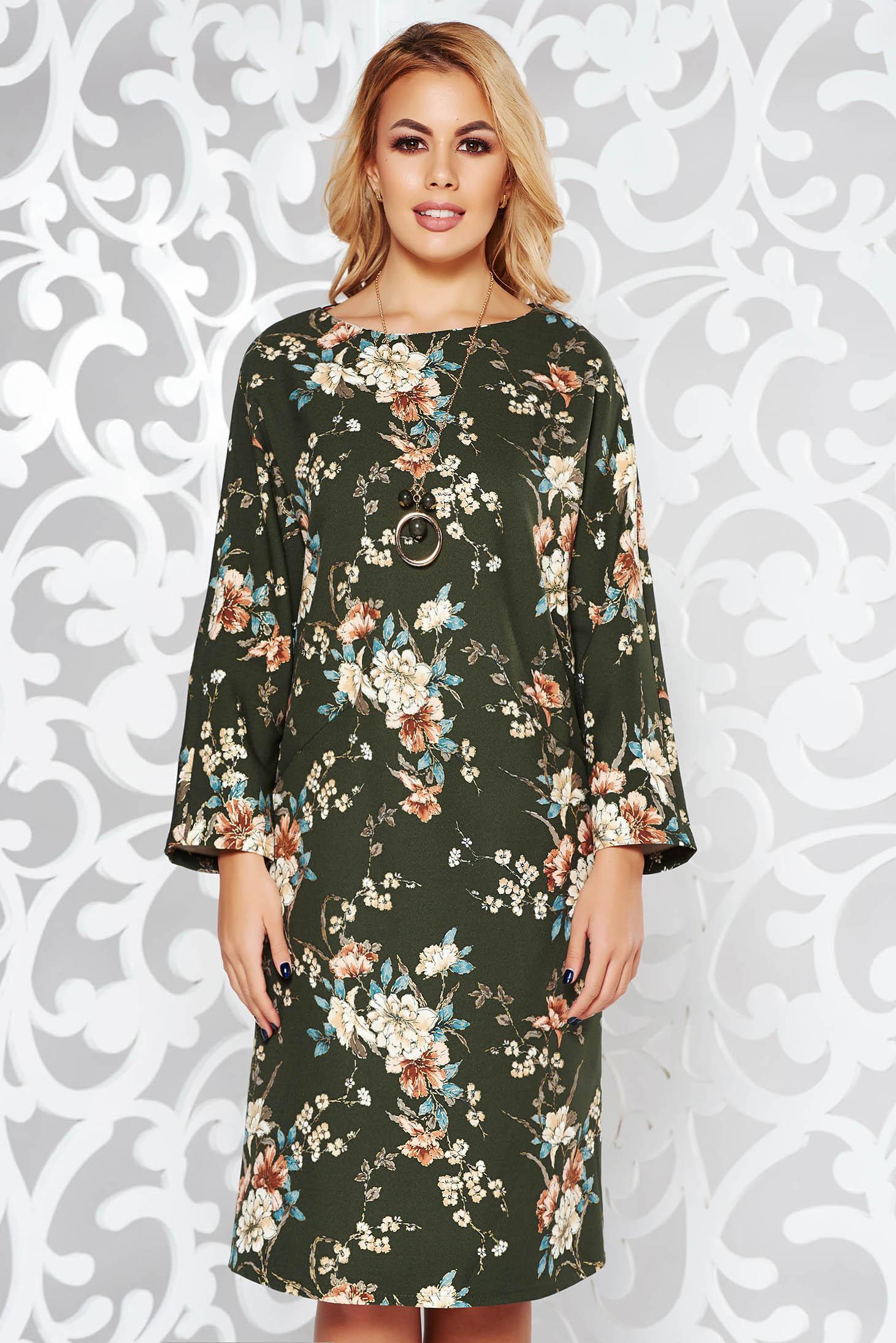 Darkgreen elegant flared dress slightly elastic fabric accessorized with chain