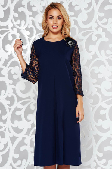 Darkblue dress elegant flared soft fabric with laced sleeves