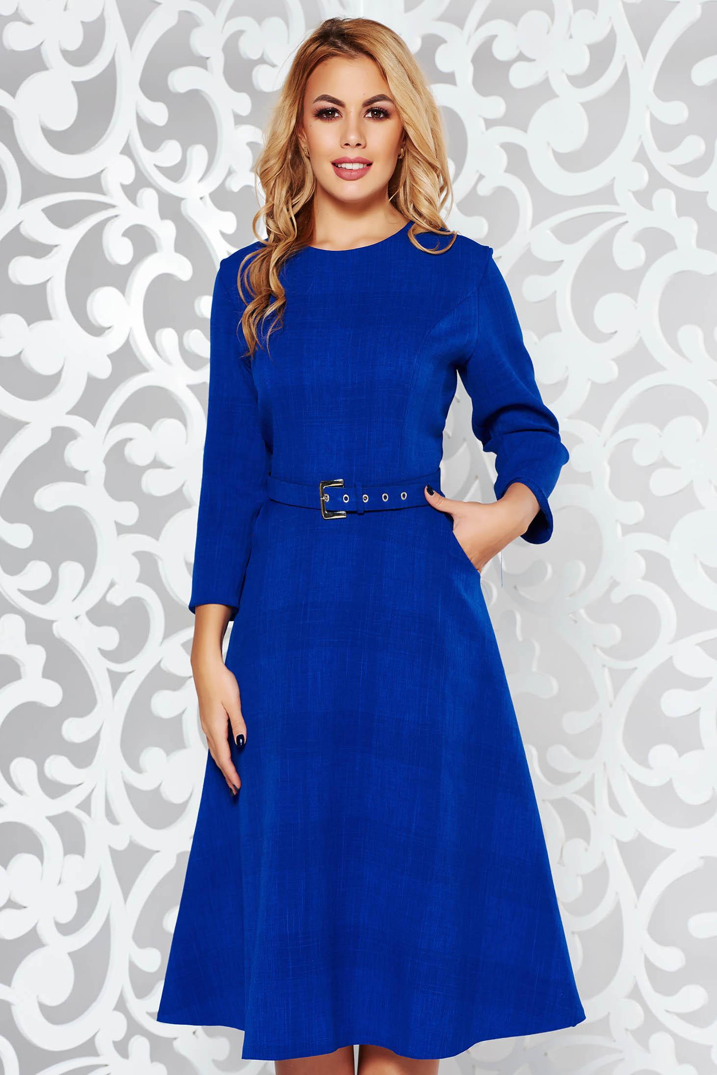 Blue elegant midi cloche dress slightly elastic fabric with pockets accessorized with belt