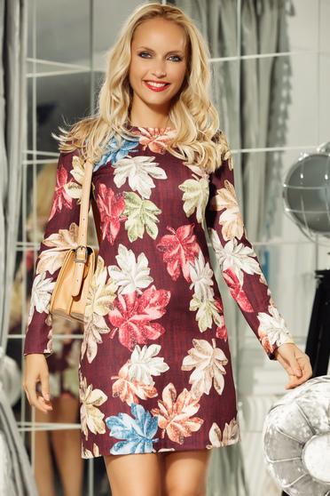 Fofy burgundy elegant daily a-line dress nonelastic fabric