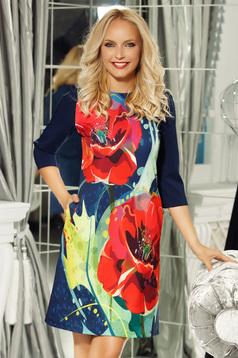 Fofy darkblue elegant a-line 3/4 sleeve dress slightly elastic fabric
