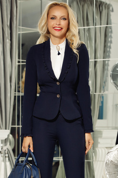 Fofy darkblue office blazer jacket tented with ruffle details