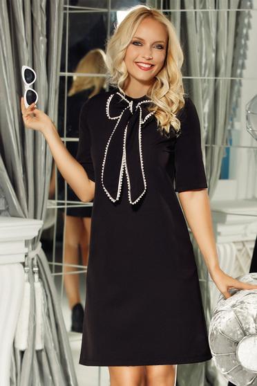 Fofy black elegant a-line dress slightly elastic fabric bow accessory
