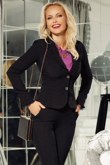 Fofy black office blazer jacket tented with ruffle details