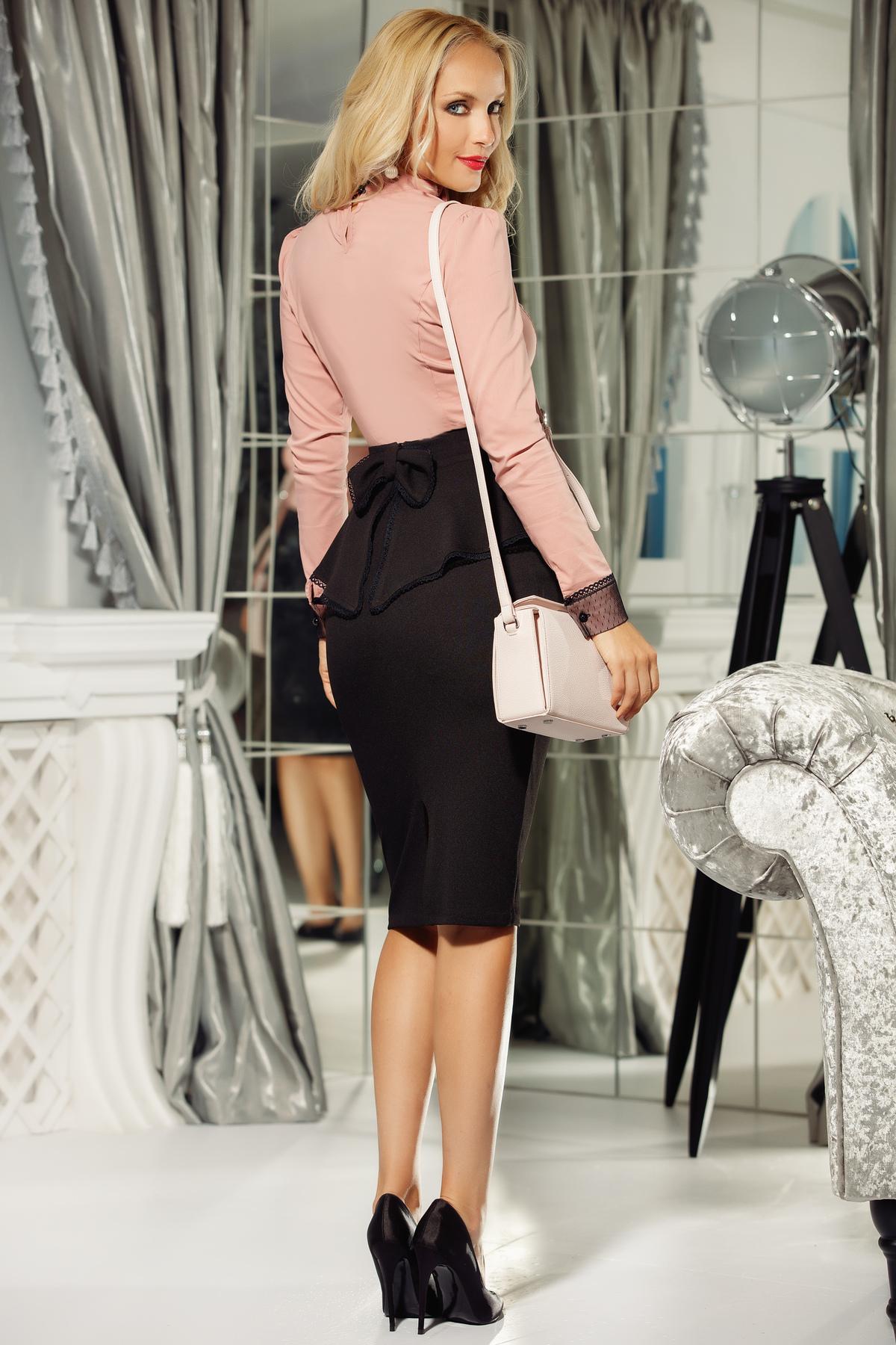 Camasa dama Fofy rosa office bumbac usor elastic cu un croi mulat