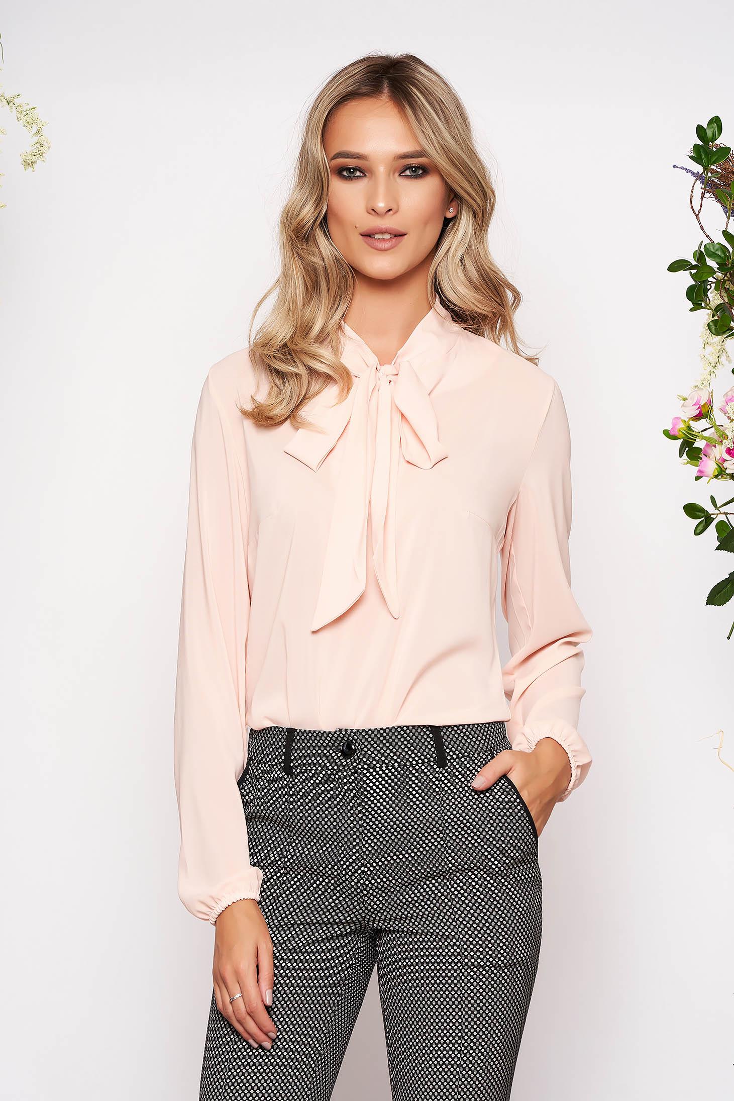 Bluza dama StarShinerS piersica eleganta cu croi larg din voal cu maneci lungi si guler tip esarfa
