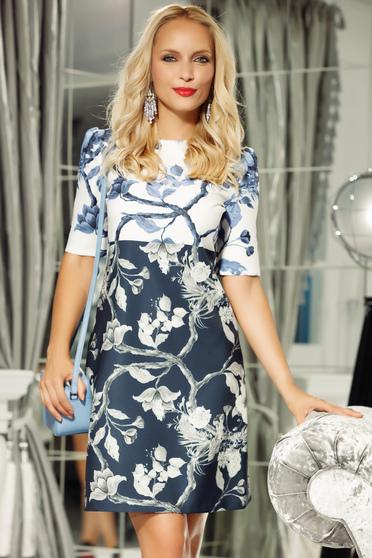 Fofy darkblue elegant a-line 3/4 sleeve dress slightly elastic fabric with floral prints