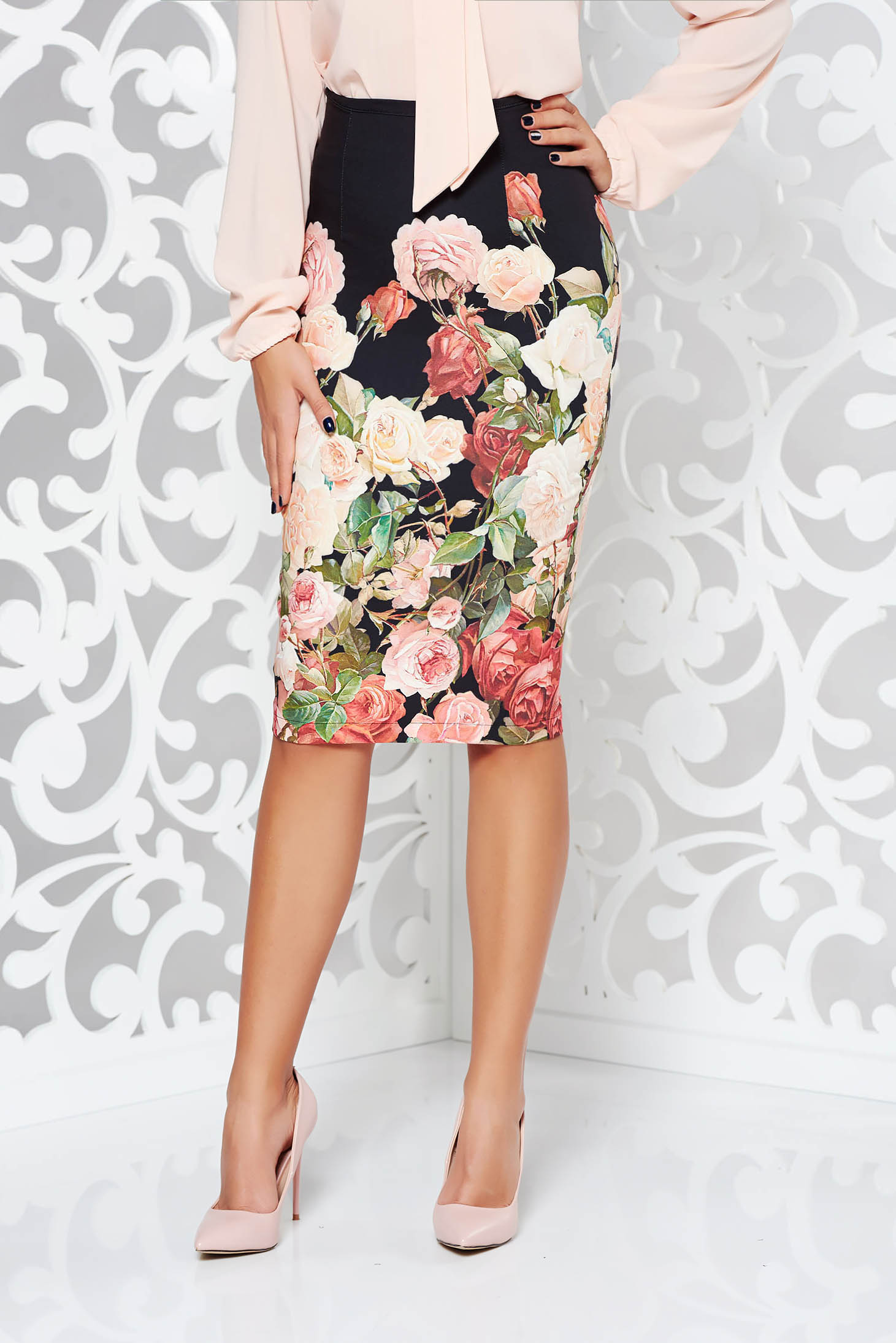 Starshiners Black Skirt Office Midi Pencil Slightly Elastic Fabric Petal With Floral Prints