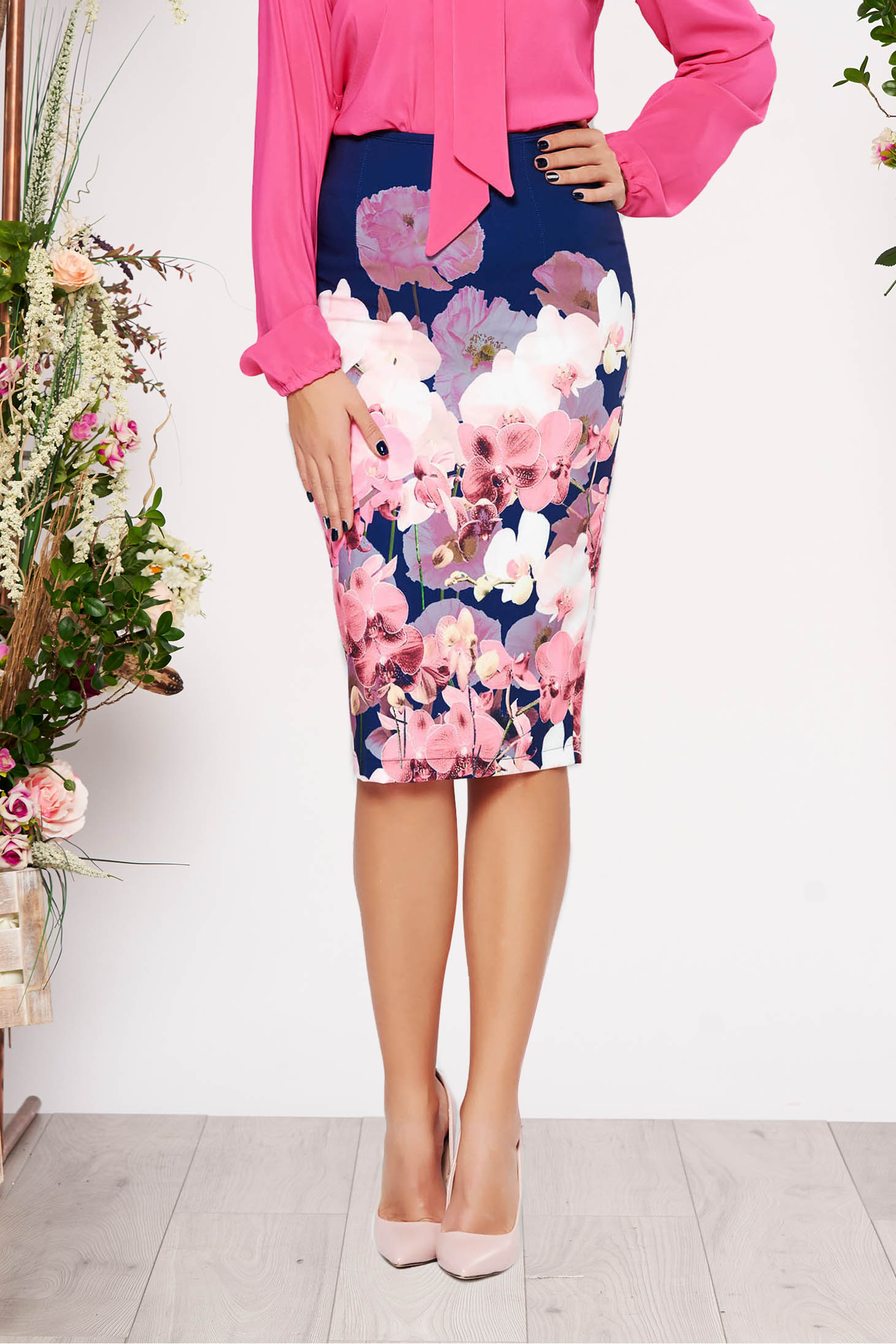 StarShinerS darkblue office midi pencil skirt slightly elastic fabric with floral prints