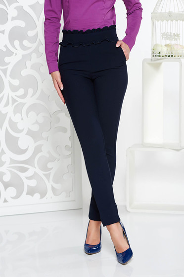 Fofy darkblue conical high waisted trousers with tented cut