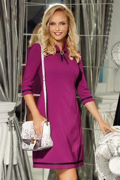 Fofy purple elegant a-line 3/4 sleeve dress accessorized with breastpin