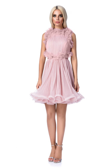 Ana Radu rosa dress luxurious from tulle with inside lining with cut back cloche