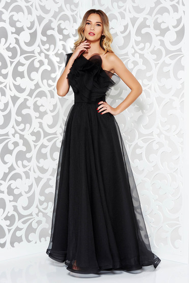 Ana Radu black dress luxurious from tulle with inside lining with ruffles on the chest one shoulder