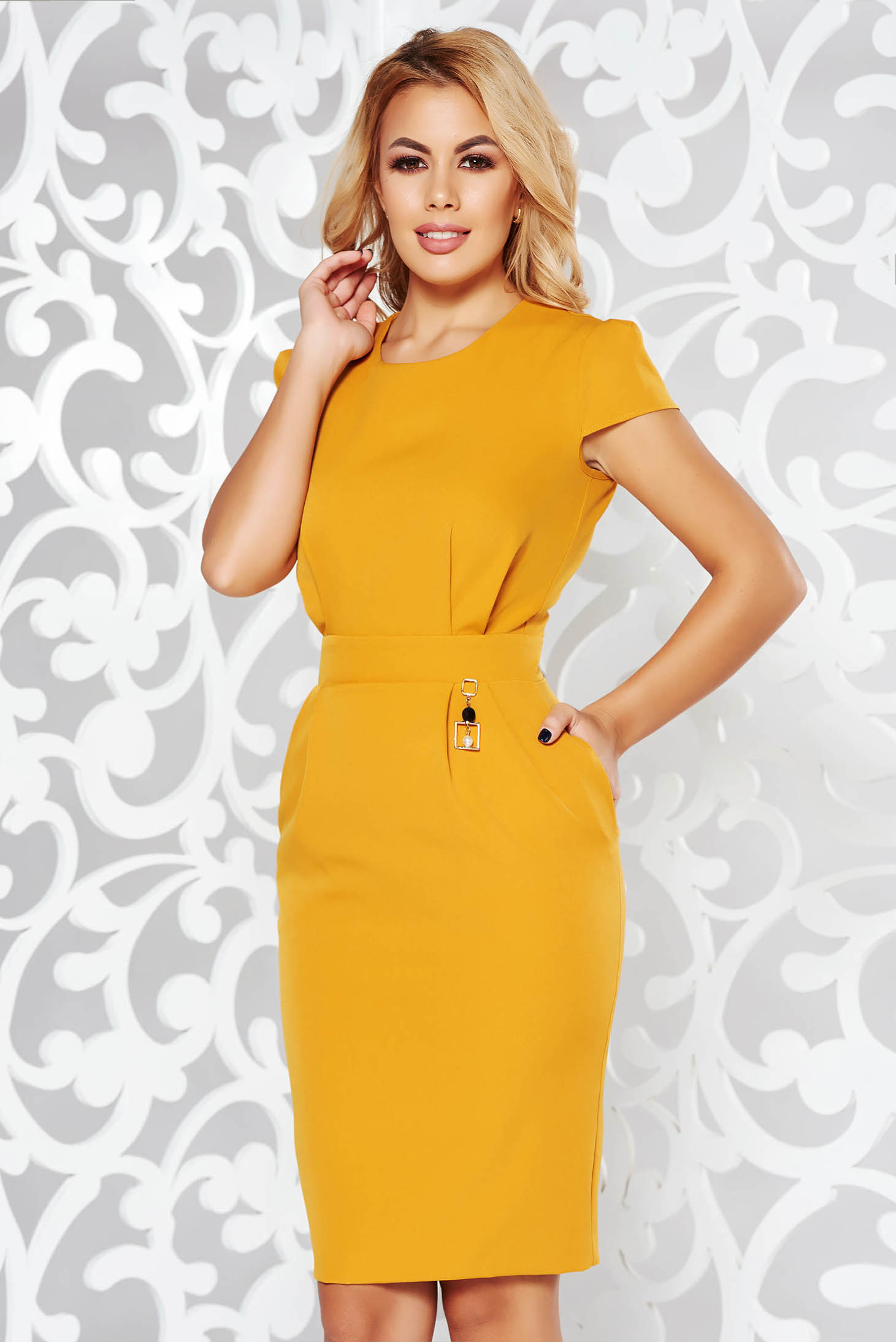 PrettyGirl mustard dress office pencil slightly elastic fabric with inside lining with pockets