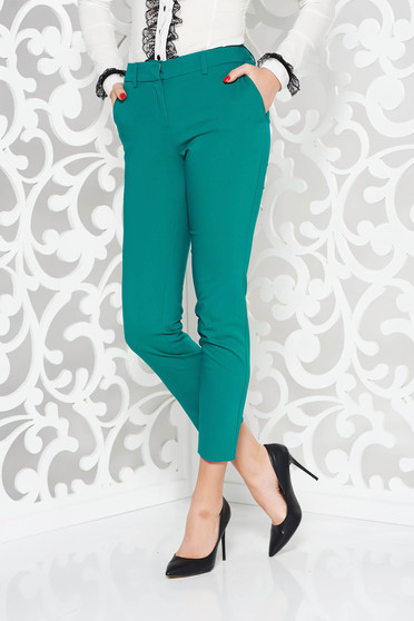 Green trousers office conical cotton with medium waist with pockets