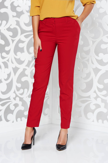 Red trousers office conical cotton with medium waist with pockets