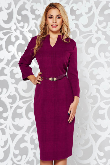 Purple dress office pencil slightly elastic fabric accessorized with belt with v-neckline