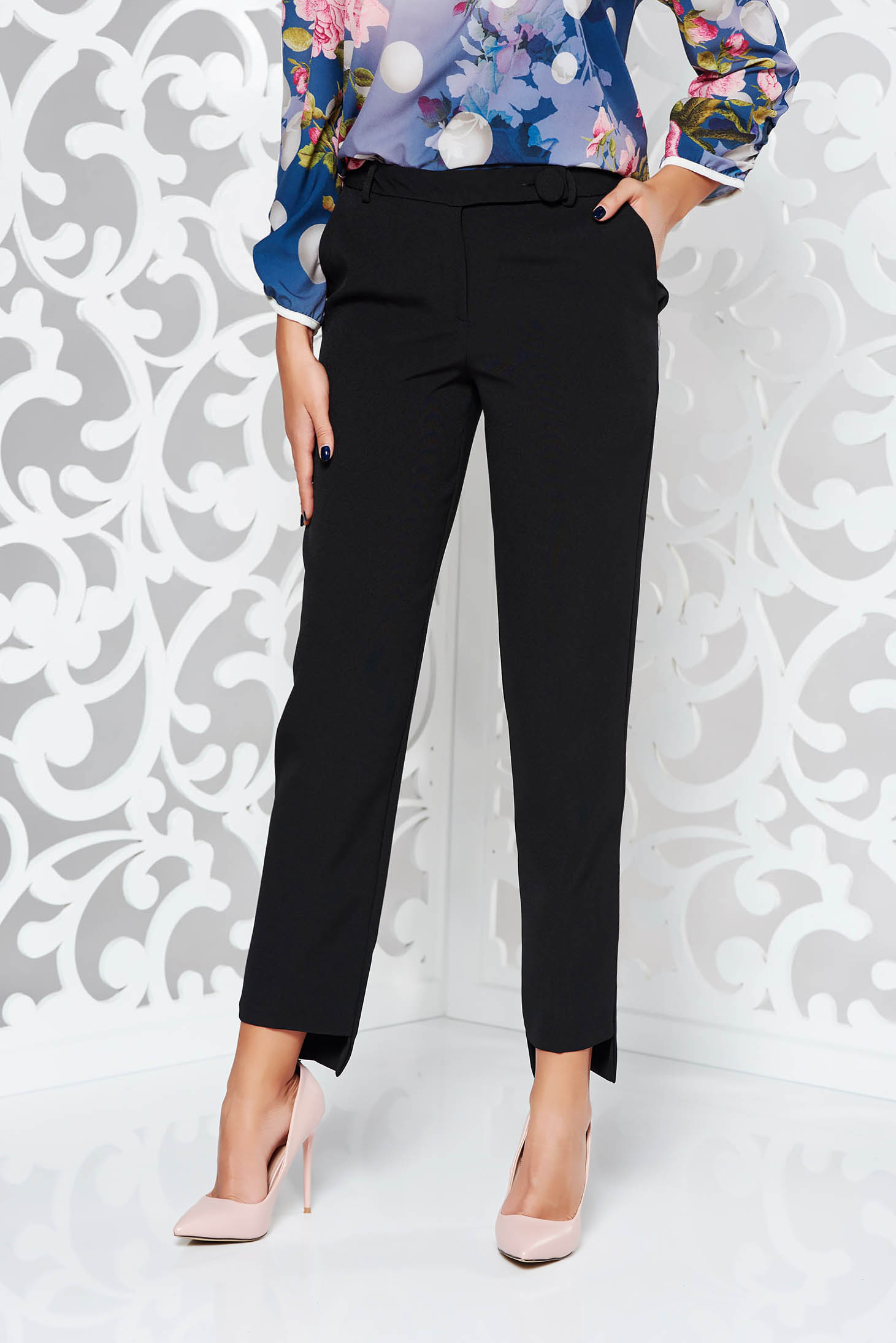 StarShinerS black office with medium waist conical trousers slightly elastic fabric with pockets