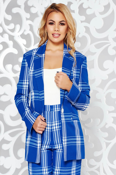 StarShinerS blue jacket office arched cut nonelastic fabric with inside lining with pockets