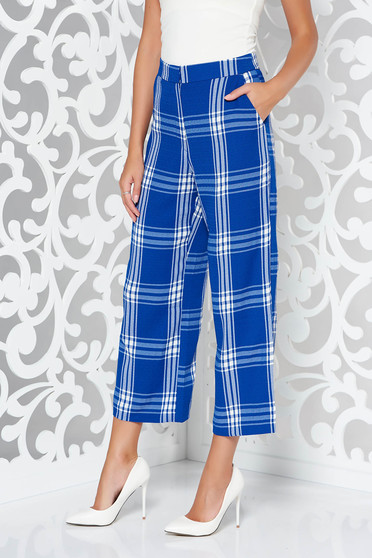 StarShinerS blue office trousers with straight cut nonelastic fabric plaid fabric high waisted with pockets