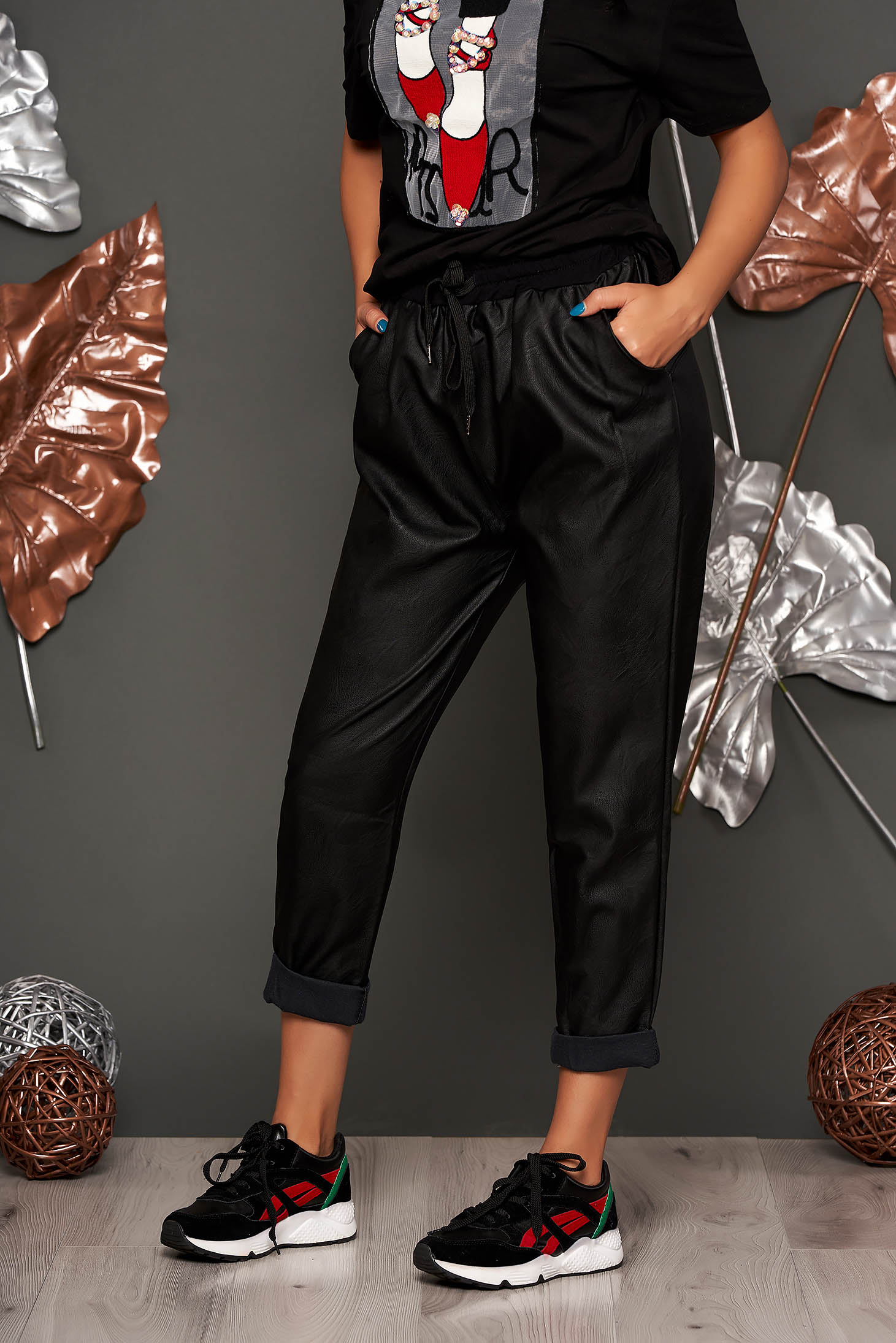 Top Secret black trousers casual with medium waist from ecological leather with pockets