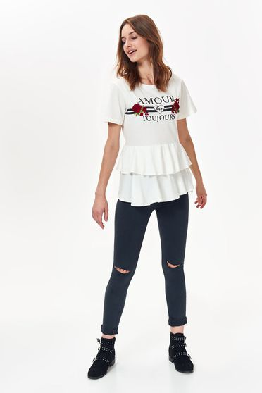 Top Secret white casual flared t-shirt slightly elastic cotton with print details with ruffle details