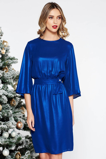 StarShinerS blue occasional cloche dress thin fabric with inside lining with elastic waist