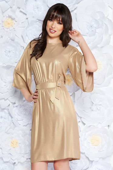 StarShinerS gold occasional cloche dress thin fabric with inside lining with elastic waist