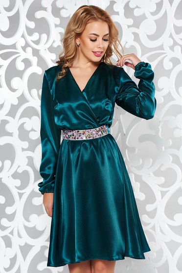 StarShinerS green dress occasional from satin fabric texture accessorized with tied waistband with embellished accessories with elastic waist