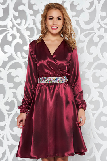 StarShinerS burgundy dress occasional from satin fabric texture accessorized with tied waistband with embellished accessories with elastic waist