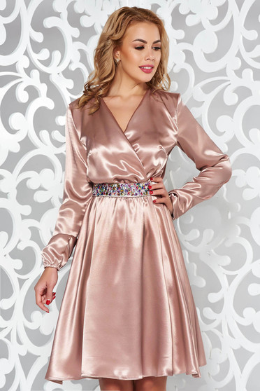 StarShinerS cream dress occasional from satin fabric texture accessorized with tied waistband with embellished accessories with elastic waist