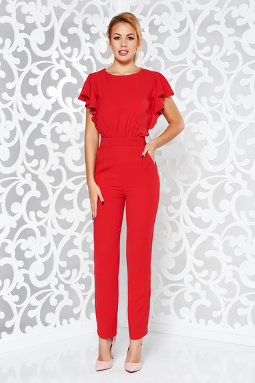 Red jumpsuit occasional with tented cut from elastic fabric with cut back with pockets