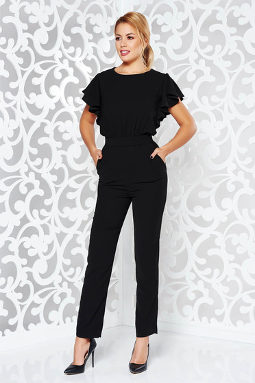Black jumpsuit occasional with tented cut from elastic fabric with cut back with pockets
