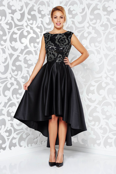 Black dress occasional asymmetrical from satin fabric texture with sequin embellished details