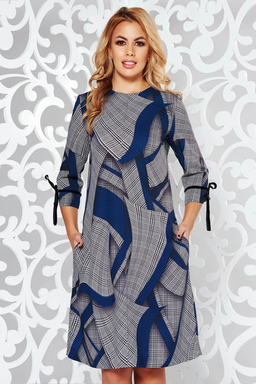 Blue dress office a-line nonelastic fabric plaid fabric with pockets