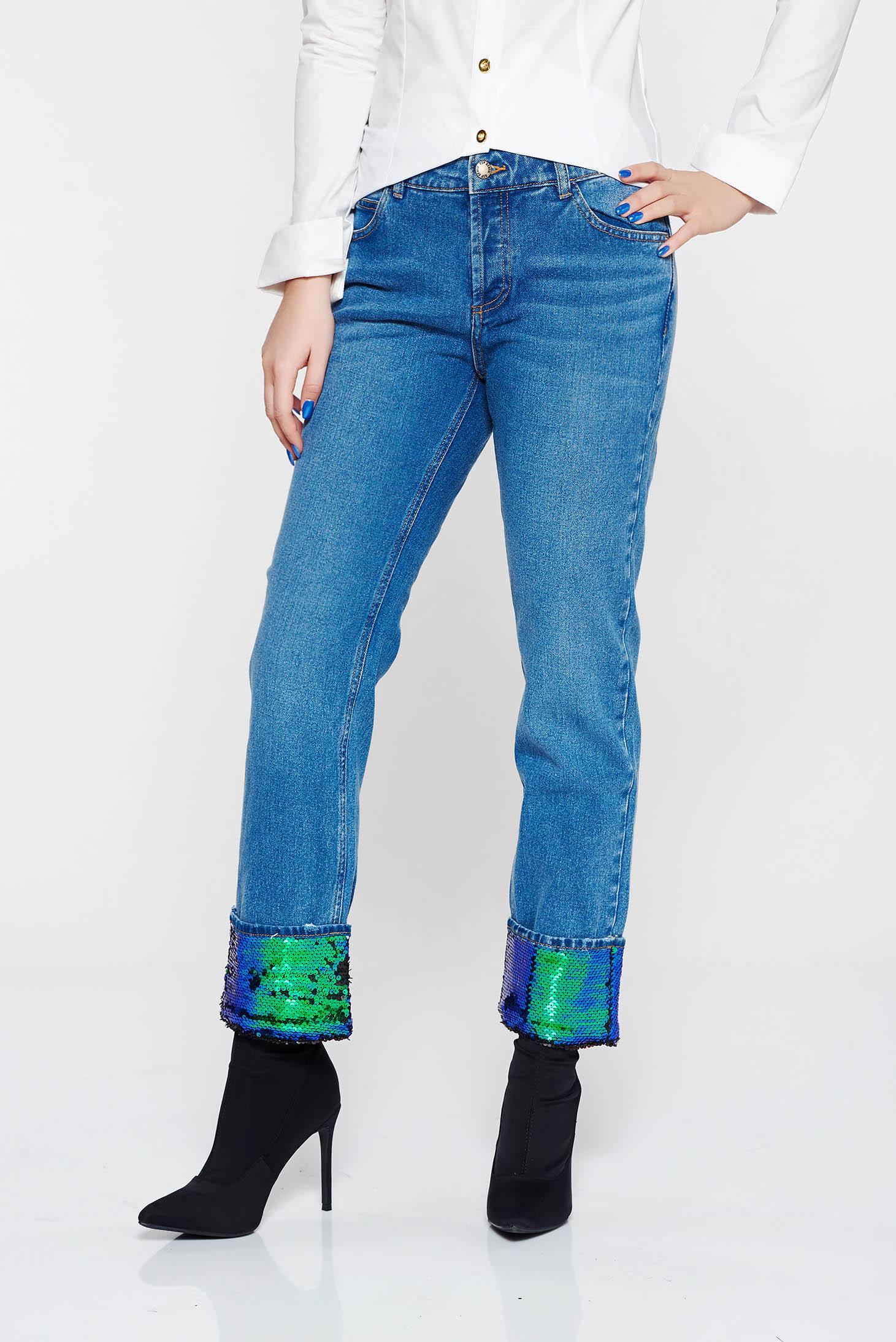 Blugi albastri casual cu talie medie din bumbac cu aplicatii cu paiete cu un croi drept