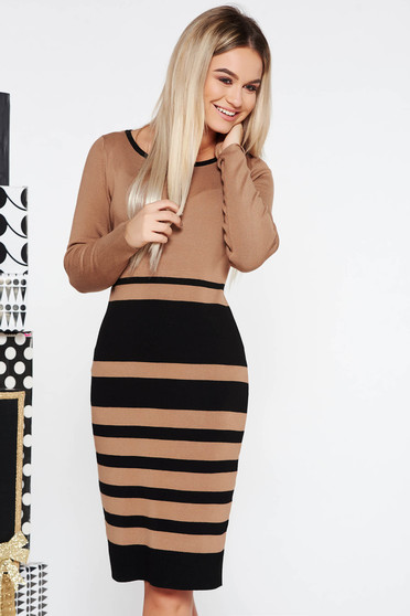 Brown office pencil dress knitted fabric midi long sleeved