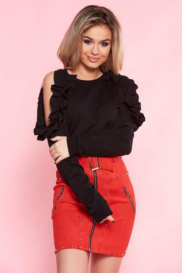 Top Secret black women`s blouse casual flared nonelastic cotton both shoulders cut out with ruffle details