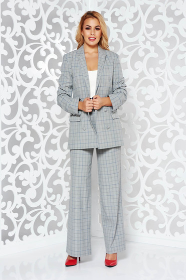 StarShinerS white lady set office non-flexible thin fabric with inside lining with trousers high waisted