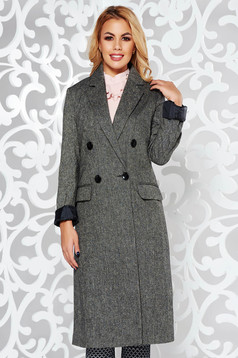 StarShinerS darkgrey coat office wool with inside lining with straight cut with pockets