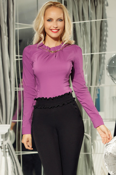 Fofy purple office cotton women`s shirt with tented cut with metalic accessory